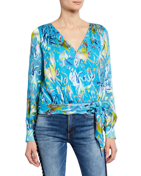Tanya Taylor Klara Long-Sleeve Wrap Top