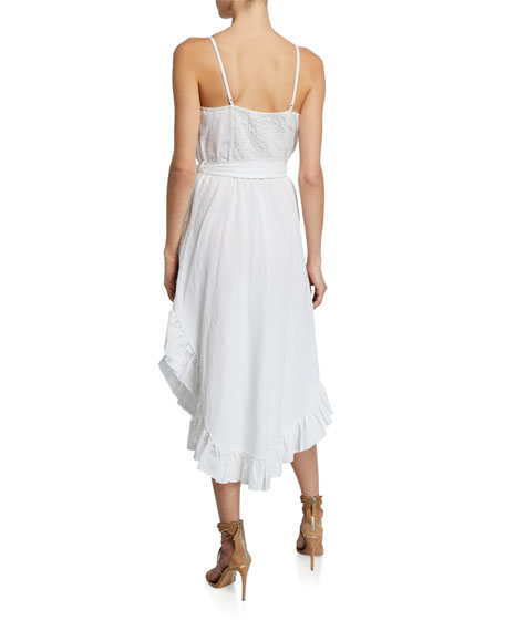 Iro Lemon V-Neck Ruffle Linen Dress w/ Belt