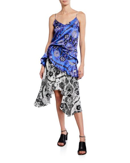 Caroline Constas Flounce Paisley Silk Midi Skirt