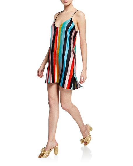 Caroline Constas Elena Striped Charmeuse Slip Dress