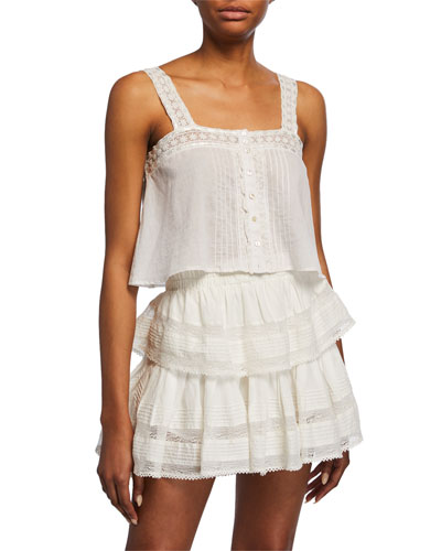 Daisy Cropped Button-Front Top