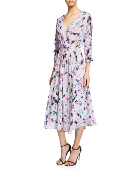 Iro Liky Ruffle Floral-Print 3/4-Sleeve Midi Dress
