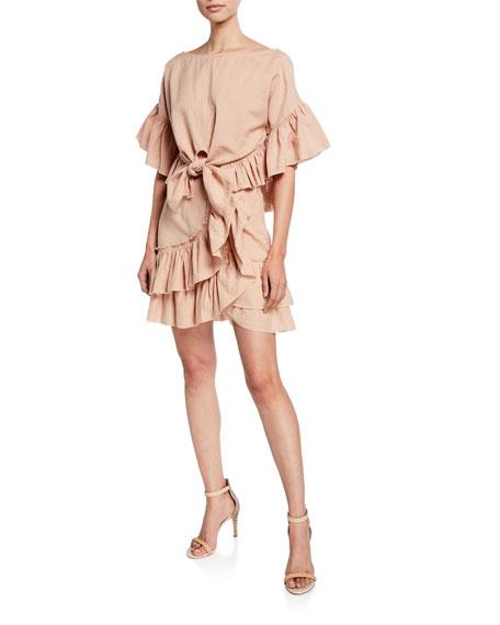 Iro Musk Linen Tiered Ruffle Skirt