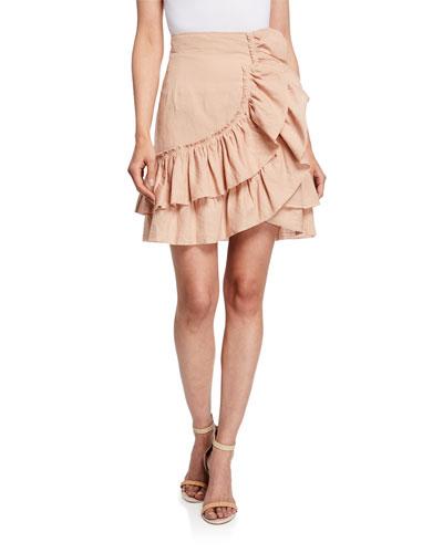 Musk Linen Tiered Ruffle Skirt