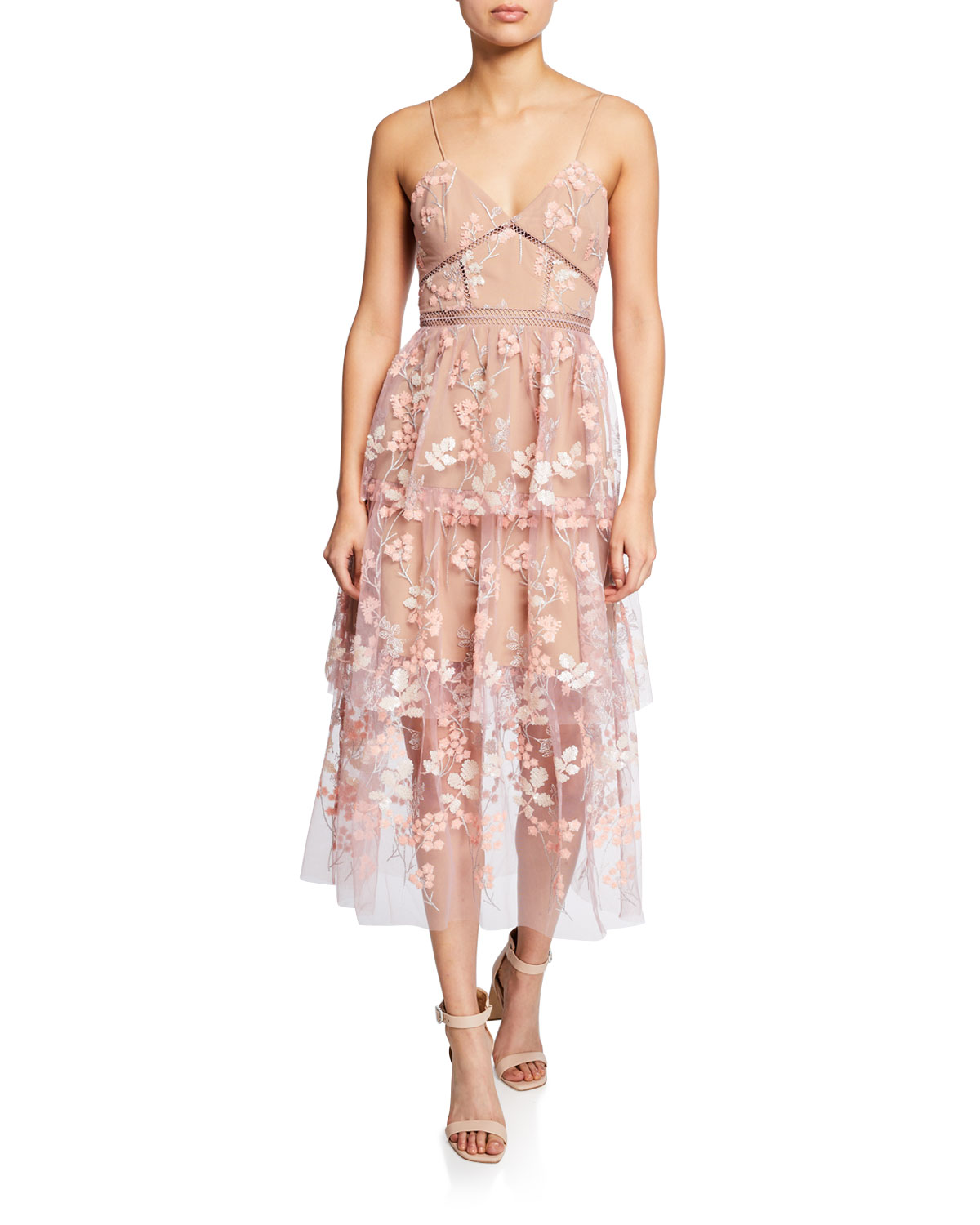 3385ede6bf4f Self-Portrait Floral-Embellished Tiered Midi Dress | Neiman Marcus