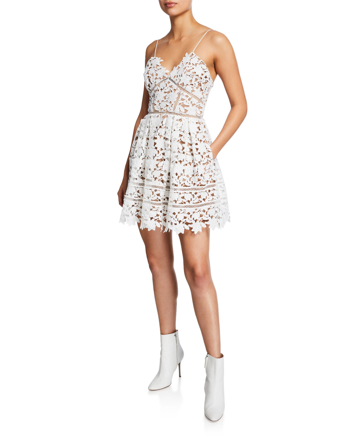 440c7dd901d3 Self-Portrait Azaelea Floral Lace Sleeveless Mini Dress | Neiman Marcus