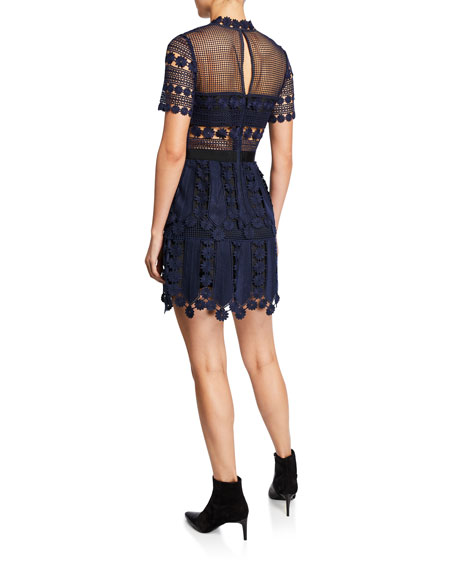 Self-Portrait Floral Lace Short-Sleeve Tiered Cocktail Dress