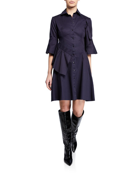 palmer//harding Sash Button-Front Trumpet-Sleeve Shirtdress
