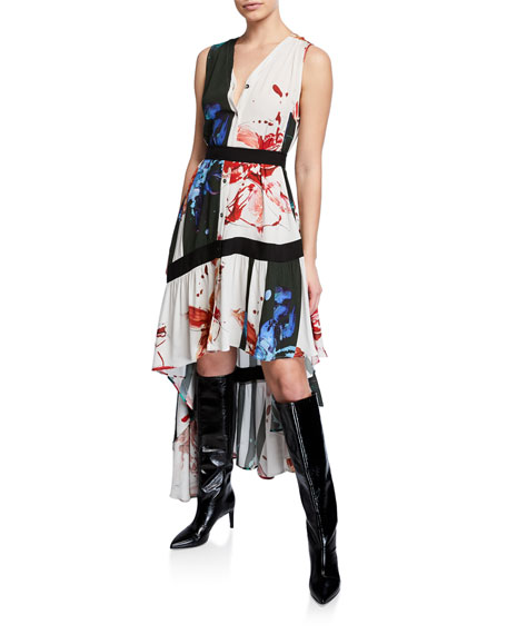 palmer//harding Super Printed High-Low Button-Front Asymmetrical Dress