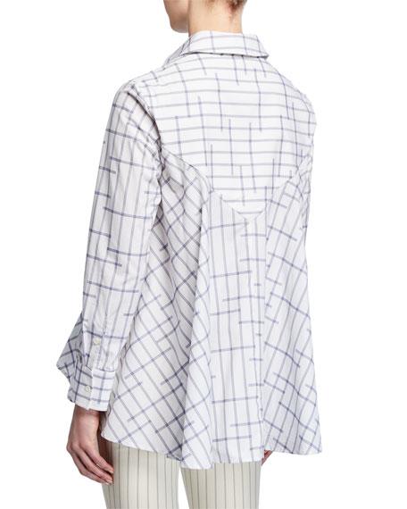 palmer//harding Pointed Draped-Back Printed Button-Up Shirt