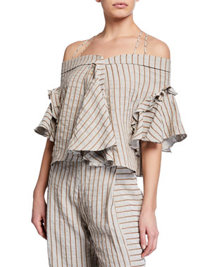 7d760bf004 palmer//harding Haven Striped Off-Shoulder Ruffle Top