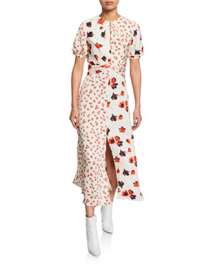 ce28f9db8932 Self-Portrait Mixed Floral Print Puff Sleeve Midi Dress