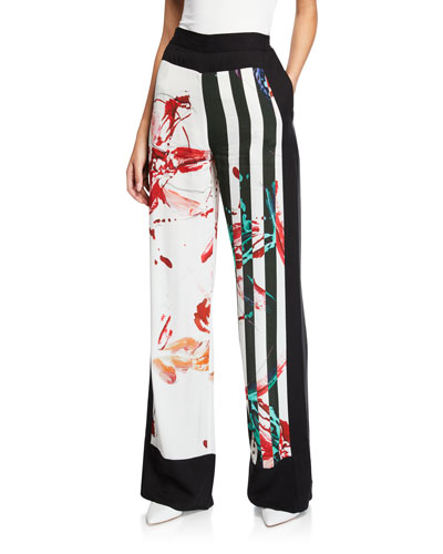 Silence Striped Floral Wide-Leg Trousers