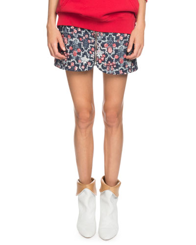 Marily Floral Linen Quilted Mini Skirt