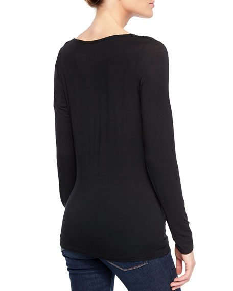 Majestic Filatures Soft Touch Draped Long-Sleeve Top