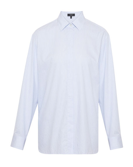Theory Classic Striped Shirting Button-Up Top