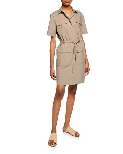 Travel Cotton Short-Sleeve Utility Dress