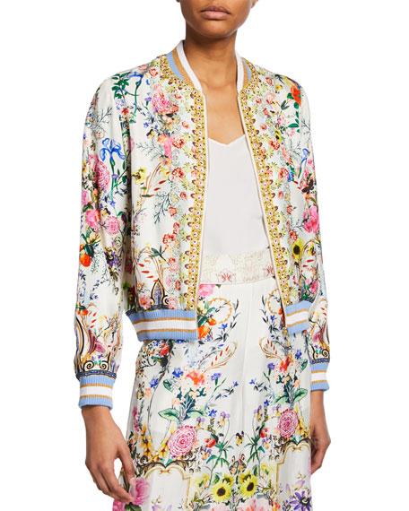 Camilla Printed Silk Bomber Jacket
