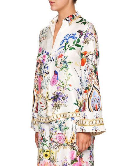 Camilla Printed Silk Long-Sleeve Shirt with Contrast