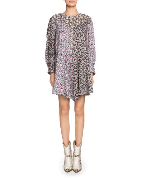 Etoile Isabel Marant Lissande Crewneck Long-Sleeve Mixed-Print Mini Dress