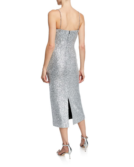 St. John Collection Sequin Scoop-Neck Sleeveless Statement Dress w/ Chain Detail