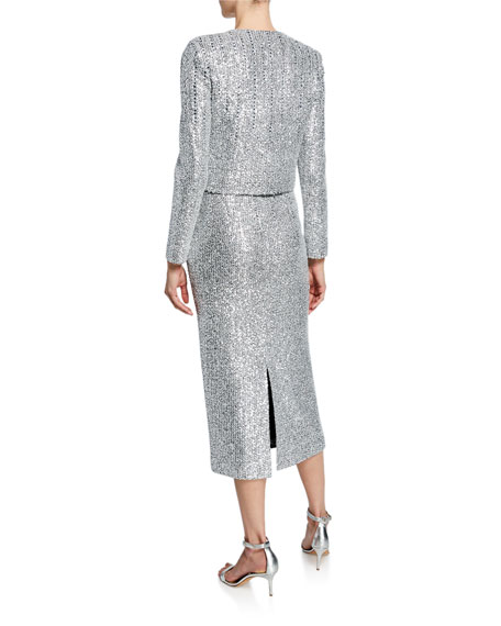 St. John Collection Sequin Open-Front Long-Sleeve Cropped Statement Jacket