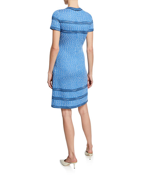 St. John Collection Sheath Tweed Knit Dress w/ Trim
