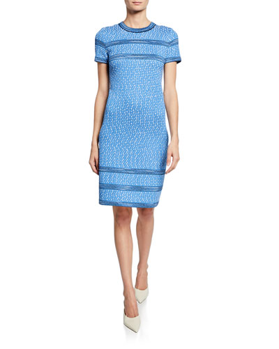 Sheath Tweed Knit Dress w/ Trim