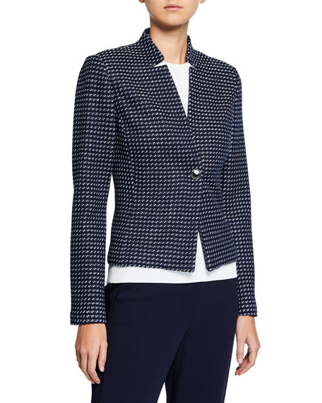 St. John Collection Dotted-Inlay Tweed Knit Jacket