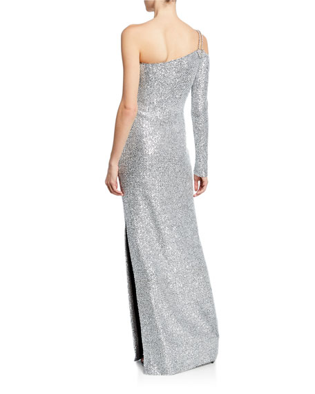 St. John Collection Sequin Knit One-Shoulder Statement Gown with Chain Detail