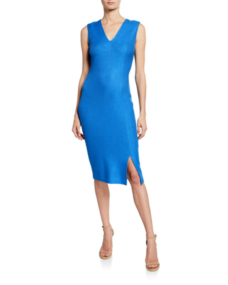 St. John Collection Sarga Knit Twill V-Neck Sleeveless Dress with Slit