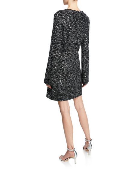 St. John Collection V-Neck Long-Sleeve Bejeweled Evening Texture Knit Dress w/ Chain Trim