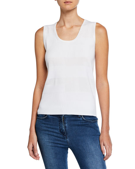 St. John Collection Patchwork Sleeveless Knit Shell Top
