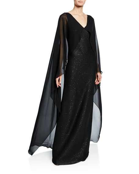 St. John Collection Column Sequined-Knit Silk Georgette Cape Gown