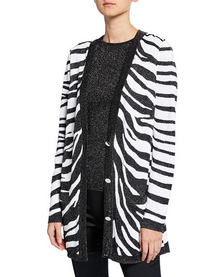 St. John Collection Zebra Jacquard Knit Cardigan