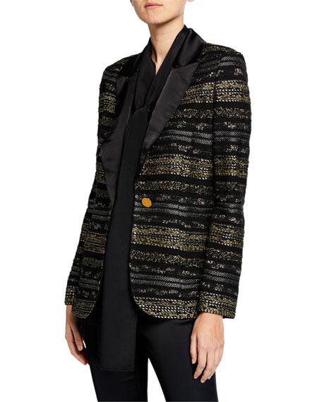St. John Collection Passementerie Knit Liquid Satin Jacket