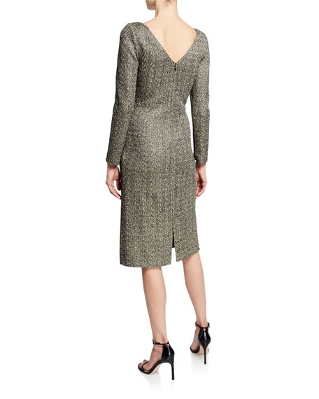 St. John Collection Bateau-Neck Long-Sleeve Golden Evening Shimmer Knit Dress