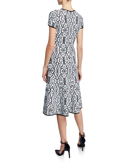 St. John Collection Artisanal Ikat Jacquard Cap-Sleeve Fit-and-Flare Dress