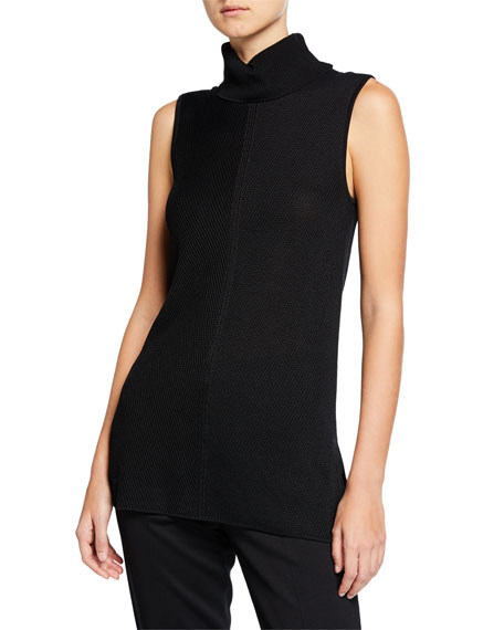 St. John Collection Chevron Knit Turtleneck Tunic