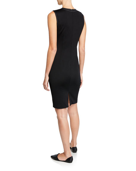 St. John Collection Sleeveless Dress with Contrast Topstitching