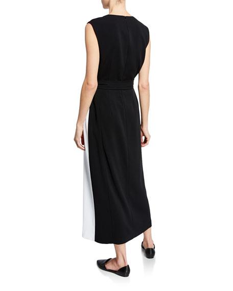 St. John Collection Cady Faux-Wrap Colorblock Dress w/ Self Belt