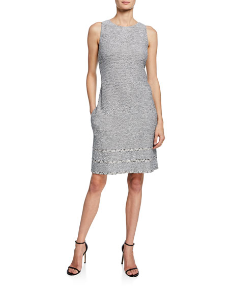 St. John Collection Sleeveless Crepe Tweed Knit Trim Dress