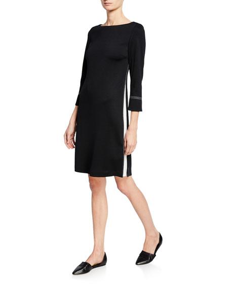 St. John Collection 3/4-Sleeve Milano Knit Dress w/ Topstitch Details & Silk Side Panels