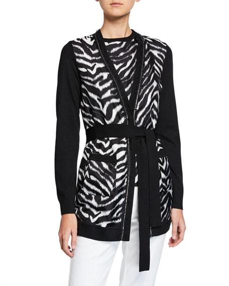 St. John Collection Zebra Chain-Trim Knit Cardigan w/ Tie Belt