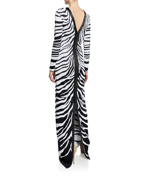 St. John Collection Zebra Jacquard Long-Sleeve Knit Gown with V-Back