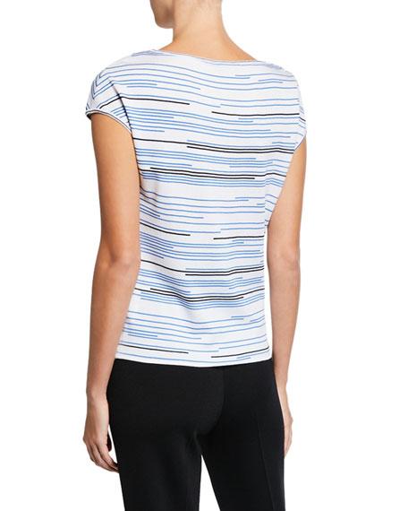 St. John Collection Stripe Knit Bateau-Neck Blouse