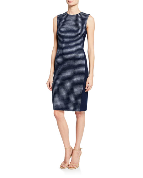 St. John Collection Dotted Tweed Knit Paneled Dress