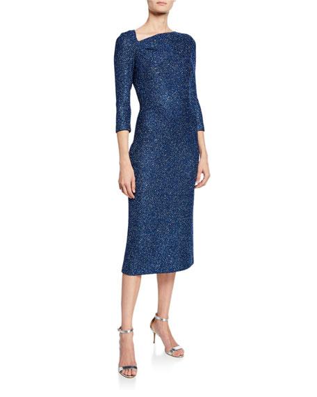 St. John Collection Luxe Sequin Asymmetric-Neck 3/4-Sleeve Tuck Knit Dress