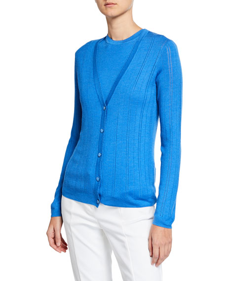 St. John Collection Fine-Gauge Pointelle Rib Knit Cardigan