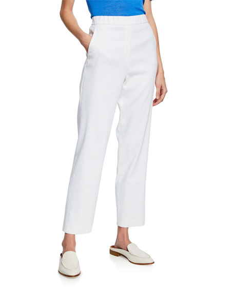 St. John Collection Straight-Leg Stretch-Linen Twill Pull-On Ankle Pants